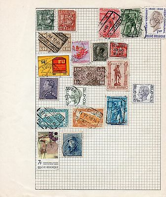 Sheet of used BELGIUM stamps (2)