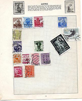 Sheet of used AUSTRIA stamps