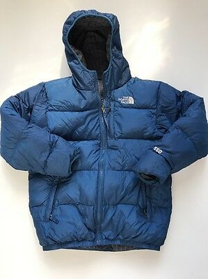 The North Face Boys Size large Series 550 Reversible Blue Goose Down Winter jack