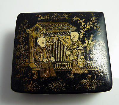 Antique Japanese Gilt Hand Painted Lacquer Stamp Box - Oriental Scene
