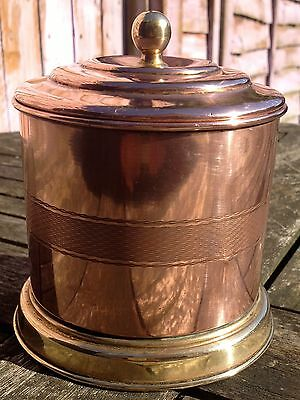 Antique/vintage copper and brass tobacco/tea/biscuit jar/box/canister