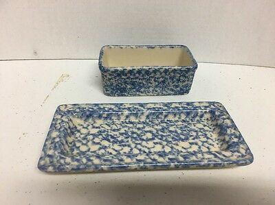 Henn Pottery 2 Pieces Blue Spongeware Butter Dish Bottom And Trinket Container