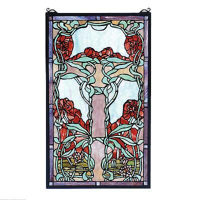 "Meyda Tiffany 15""W X 25""H Nouveau Lily Stained Glass Window 65711"
