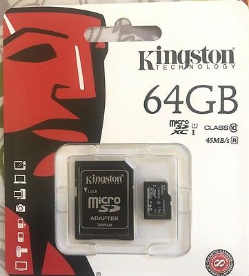Genuine Kingston 64 GB Micro SD Card Class 10 45Mb/second Inc SD Card Adopter