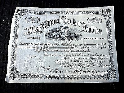 1912 Stock Certificate First National Bank Of Ambler Pa W Stamps On Back