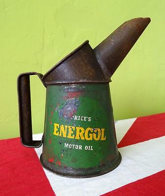 VINTAGE 1920s/30s PRICES ENERGOL MOTOR OIL CAN JUG - SMALL - GOVERNMENT STAMPED