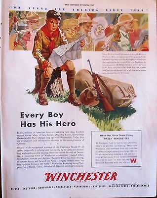 Winchester Fire Arms Boy Scout WWII Ad ,  Full Color ,  original vintage