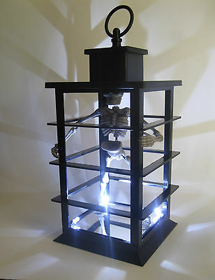 """Skeleton in Cage Lighted Halloween Party Prop Hanging or Tabletop Decoration 12"""""""