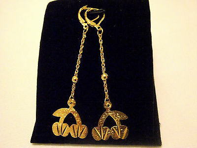 Latest Ladies18ct Yellow Gold Filled Pretty  Design Dangle Earrings