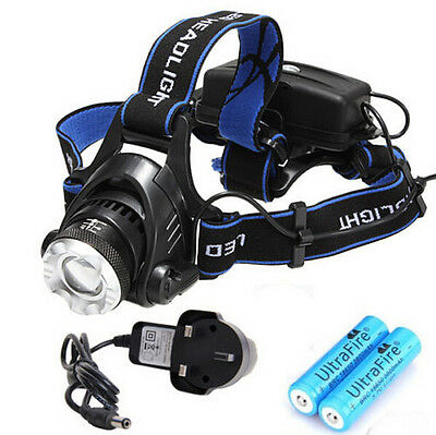 2000Lm Cree XM-L XML T6 LED Zoomable Headtorch Headlamp Headlight Rechargeable