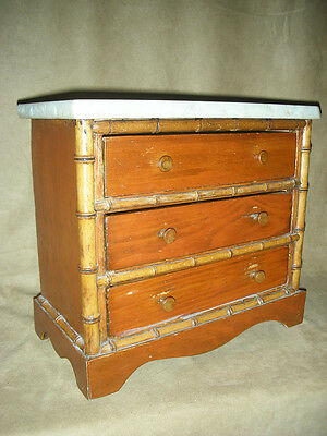 ANTIQUE MINATURE COMMODE with MARBLE TOP & FAUX BAMBOO TRIM