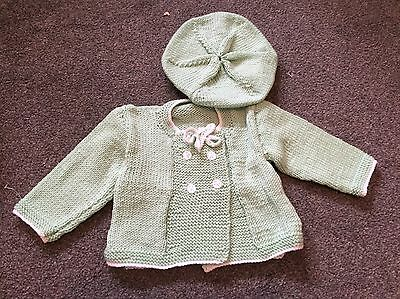 baby knitted cardigans 0-3months green with matching hat