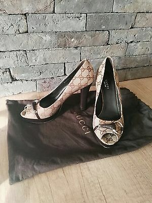 Gucci High Heels Platform Peep Toe Shoes Genuine Size 37/4