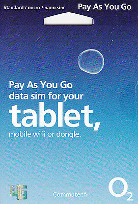 O2 Pay as You Go Data Sim Card 4G for Tablet Mifi Wifi & Dongles Ipad Lot390x
