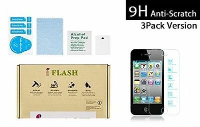 3 Pack Premium Tempered Glass Screen Protector iPod Touch 5 Clear / Bubble Free