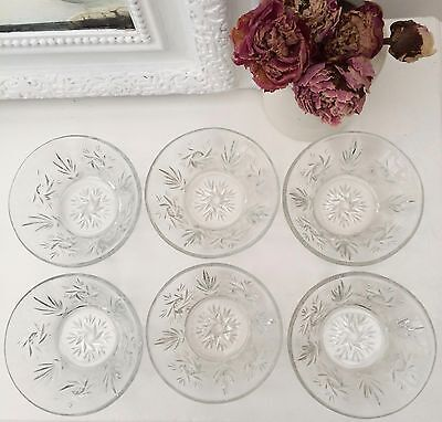 Vintage Quality Old Heavy Cut Glass Set Of Six Fruit Dessert Bowls Dishes -