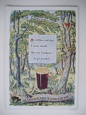 """Old Postcard - """"a Guinness A Day Is Good For You"""" - 1956"""