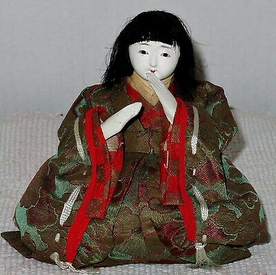 "Antique Japanese Seated 4.5"" Musician Hina Doll BH1#AD4161415.8"