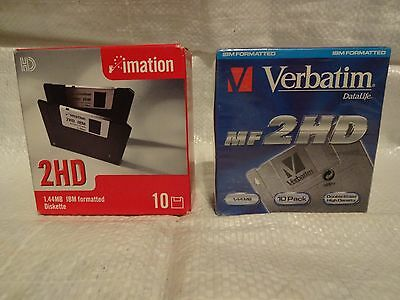 Imation 2HD 1.44MB IBM Formatted Diskettes.Veratim Datalife MF 2HD.NEW. 20 DISK.