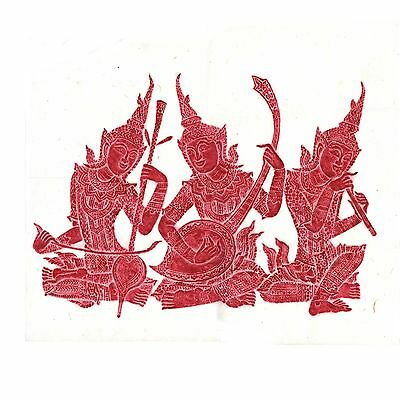 """Thai Temple Rubbing - Red - Three Seated Musicians - 24"""" x 24"""" -          2406RD"""