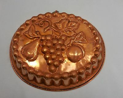 X-Large Oval French Copper Tin Fluted Cake Jelly Pudding Mold Fruit Design 5174