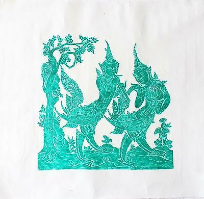 """Thai Temple Rubbing - Green - Mythical Beings - 24"""" x 24"""" -               2412GR"""