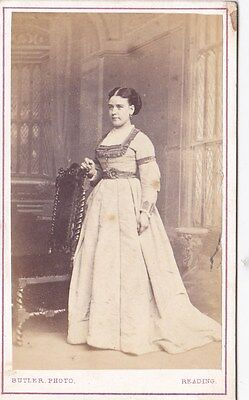 Antique Cdv Photo - Lady Standing By Chair. Long Dress.  Reading Studio