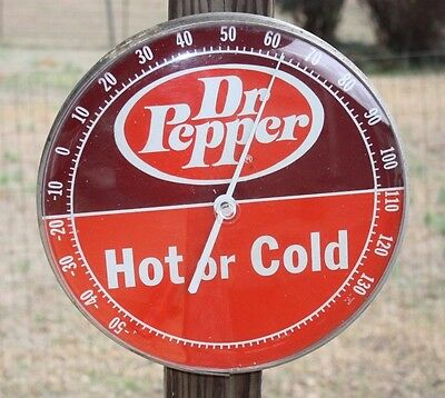 """Vintage Dr Pepper - HOT or COLD - 12"""" Round Advertising Thermometer"""