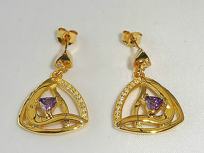 Ladies 18 Carat Yellow Gold on 925 Sterling Silver Sapphire & Amethyst Earrings