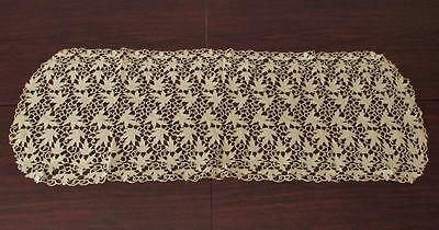 "Rare Leaf Table Runner Antique Reticella Lace Hand Embroidery 35"" Long"