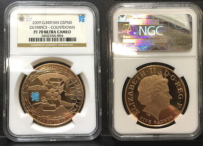 2009 Great Britain 5 Pound Gold Olympic Countdown Ngc Pf 70 U.c. *a Gem*-Rare