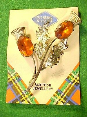 Vintage New Old Stock Sterling Mizpah Scottish Brooch With Cut Topaz Settings