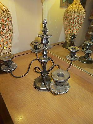 Antique  Pairpoint Quadruple Silver Plate 4 Arm Candelabra 5 Candle Holder
