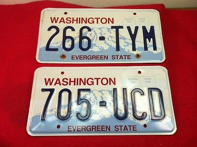 Lot Of 2 Washington State Metal License Plate 705-UCD & 266-TYM Evergreen State