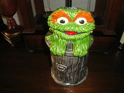 Vintage Oscar The Grouch Ceramic Trash Can Cookie Jar Sesame Street Muppets WOW!