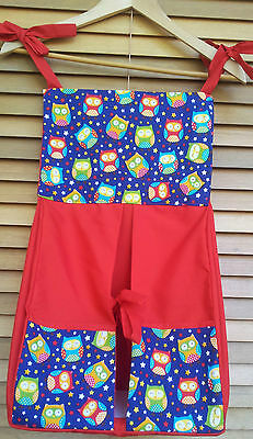 Baby Nappy/ Diaper Stacker - Owls: red & blue