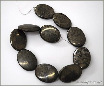 """16"""" 30x40mm Brown Pyrite Large Flat Oval Beads * DIY Jewelry"""