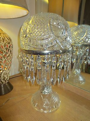 """Large Vintage Crystal Lamp With Crystal Shade And Prisms 19"""" Tall"""
