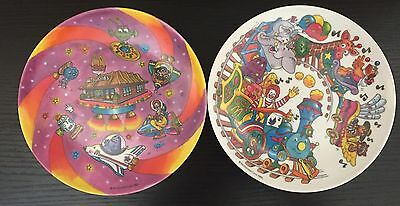 McDonalds Set of 2 Plastic Plates 1985 TRAIN & SPACE Grimace Hamburgler Ronald