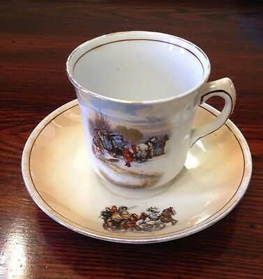 Vintage Old English Coach Scene Cup and Saucer - Grimwades