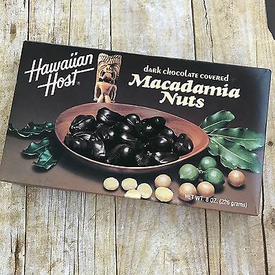 Hawaiian Host Dark Chocolate Macadamia Nuts EMPTY Candy Box 8 Oz VINTAGE Hawaii