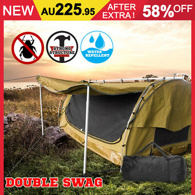 Double Camping Swags Canvas Free Standing Dome Tent Bag Coffee Brown Outdoor