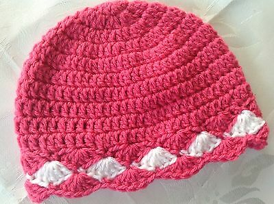 PINK & WHITE SHELL PATTERN CROCHET BEANIE  - 3 to 6 months  made in WA