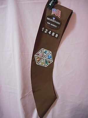 Brownie Girl Scout Sash Size X-Long. Comes with council patch, troop numbers (12