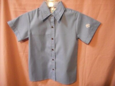 Brownie Girl Scout Blue SS Shirt Size 6. Blue short sleeve shirt with brown