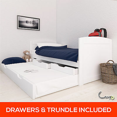 Timber Single Trundle Guest Bed Frame 3 Drawers Wood Wooden Kid Adult Solid Pine