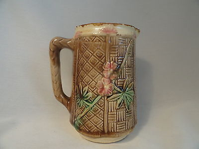 Antique Majolica Creamer Milk Pitcher Basketweave Bamboo Flowers 5 Inches High