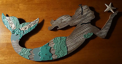 Distressed Wood & Metal Mermaid Wall Art Sculpture Beach Home Decor Sign NEW