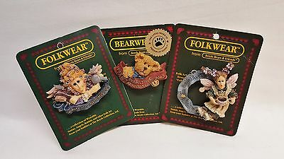 3 Bearwear Collection Pins~ Boyds Bears & Friends, Boyds Collection Ltd~Retired