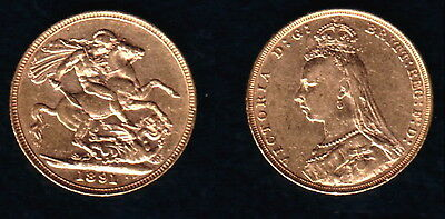 1891 Jubilee Variety Gold Queen Victoria Sovereign--Lustrous Old--High Grade